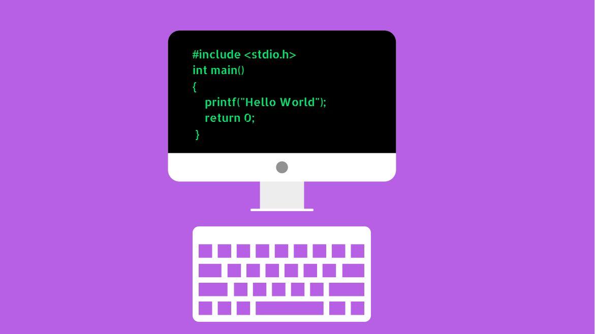 Imagem de computador com código Hello World
